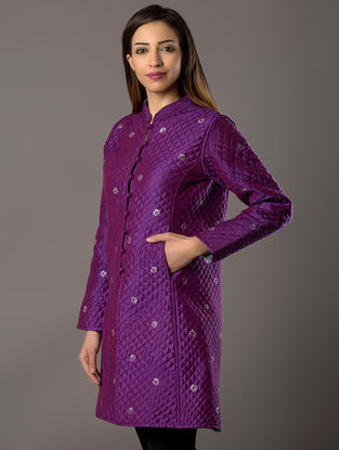 Purple Khari-Printed Quilted Cotton-Silk Jacket