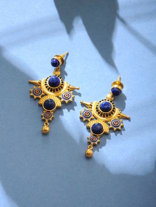 Blue Gold Tone Lapiz Enamel Earrings