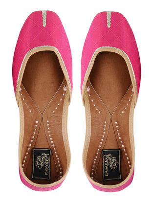 Pink Hand-embroidered Silk Leather Juttis with Tilla Work