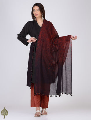 Black-Madder Natural-dyed Shibori Cotton Dupatta by Jaypore