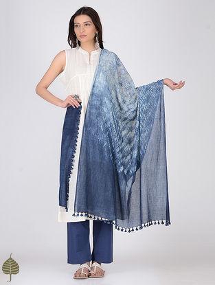 Indigo-White Natural-dyed Shibori Cotton Dupatta by Jaypore