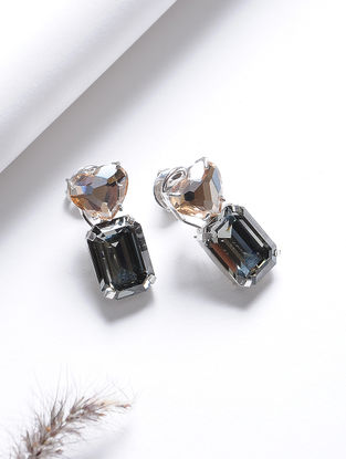 Yellow-Black Crystal Silver Earrings