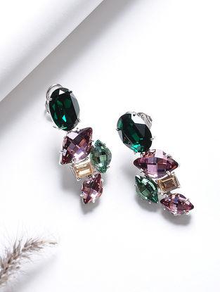 Pink-Green Crystal Silver Earrings