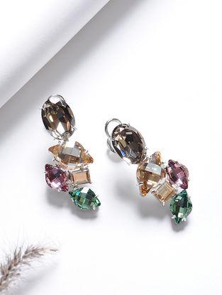 Brown-Green Crystal Silver Earrings