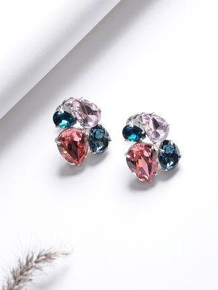 Purple-Blue Crystal Silver Earrings