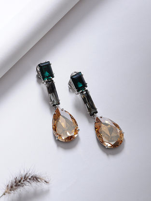Green-Orange Crystal Silver Earrings