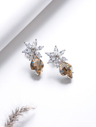 Yellow Crystal Silver Earrings with Floral Design