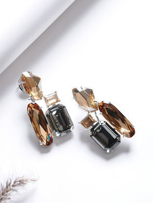 Orange-Black Crystal Silver Earrings