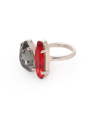 Red-Grey Crystal Adjustable Silver Ring