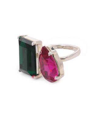 Pink-Green Crystal Adjustable Silver Ring