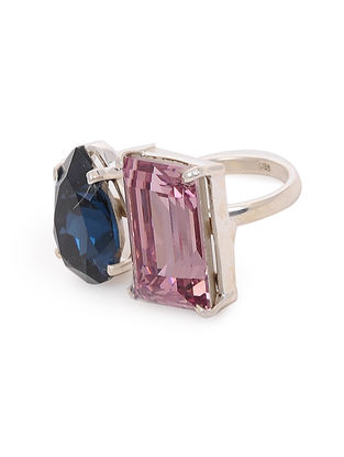 Pink-Blue Crystal Adjustable Silver Ring