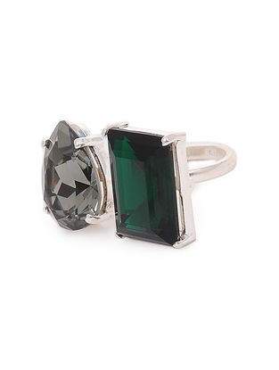 Grey-Green Crystal Adjustable Silver Ring