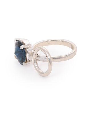 Blue Crystal Adjustable Silver Ring