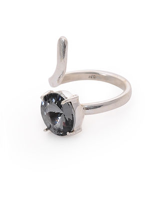Grey Crystal Adjustable Silver Ring