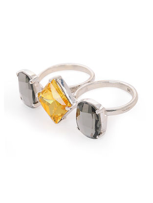 Grey-Yellow Crystal Adjustable Silver Ring