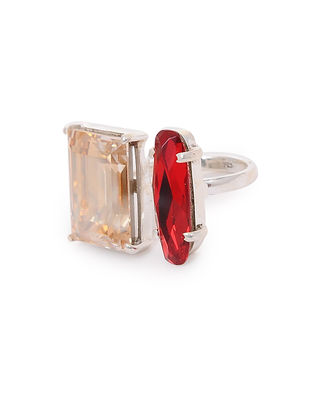 Red-Orange Crystal Adjustable Silver Ring