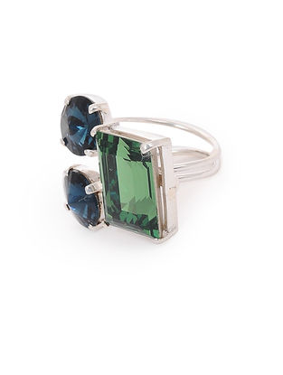 Blue-Green Crystal Adjustable Silver Ring