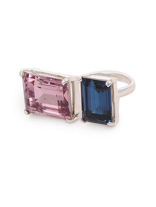 Blue-Pink Crystal Adjustable Silver Ring