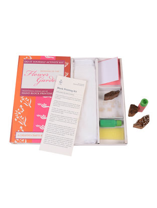 DIY Indian Craft Kit - Hand Block Printing - Morning in Flower Garden