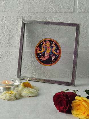 Matsya Avatar Framed Ganjifa Card 6.5in x 6.5in