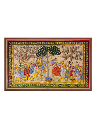 Krishna Playing Hole Pattachitra on Silk 20.6in x 32.5in