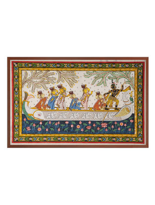 Krishna Nauka Raas Pattachitra on Silk 22in x 32.5in