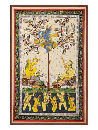 Krishna with Gopiya Pattachitra on Silk 31in x 21.5in