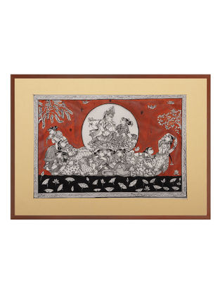 Radha Krishna Pattachitra on Silk 21in x 15.5in