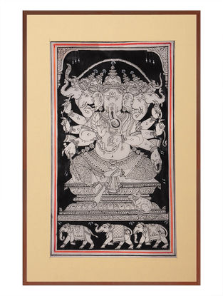 Panchmukhi Ganesha Pattachitra on Silk 17in x 12in