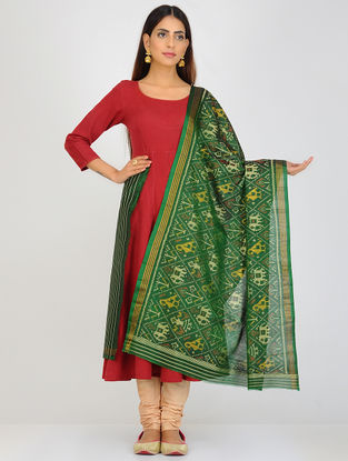 Green-Yellow Single Ikat Patola Silk Dupatta with Zari Border