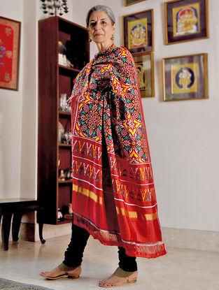 Red-Yellow Double Ikat Patan Patola Silk Dupatta with Zari Border