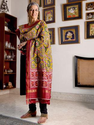 Yellow-Red Double Ikat Patan Patola Silk Dupatta with Zari Border