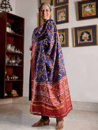 Blue-Red Double Ikat Patan Patola Silk Dupatta with Zari Border