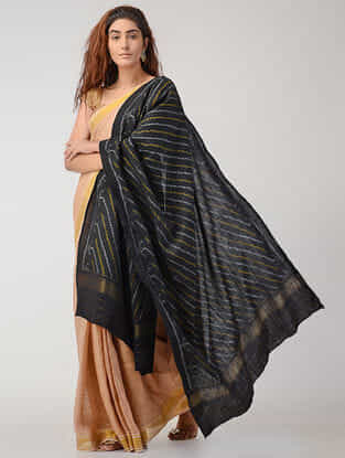 Black-Yellow Ikat Wool Shawl with Zari Border