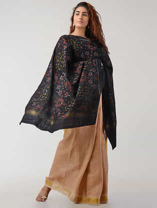 Black-Red Ikat Wool Shawl with Zari Border