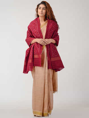 Red Ikat Wool Shawl with Zari Border
