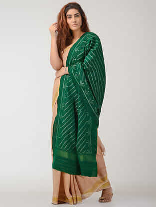 Green Ikat Wool Shawl with Zari Border
