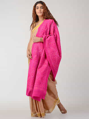 Pink Ikat Wool Shawl