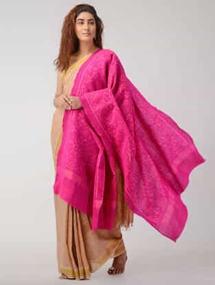 Pink Ikat Wool Shawl with Zari Border