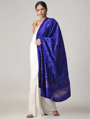Blue Ikat Wool Shawl with Zari Border