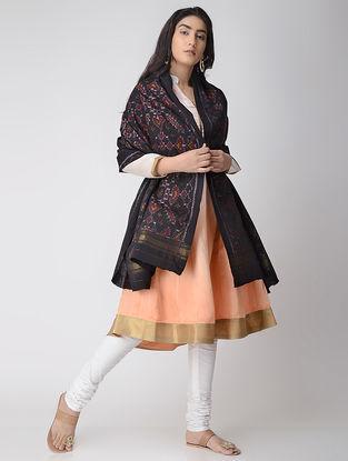Black-Maroon Ikat Wool Shawl with Zari Border