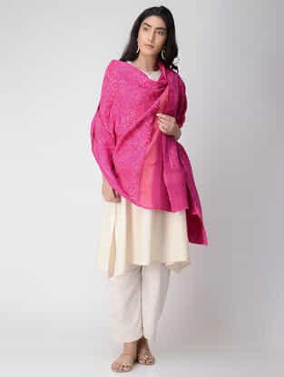 Pink-Ivory Ikat Wool Shawl with Zari Border
