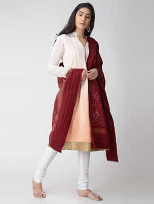 Maroon-Ivory Ikat Wool Shawl with Zari Border
