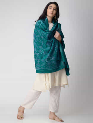 Green-Ivory Ikat Wool Shawl with Zari Border