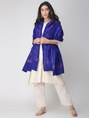 Blue-Ivory Ikat Wool Shawl with Zari Border