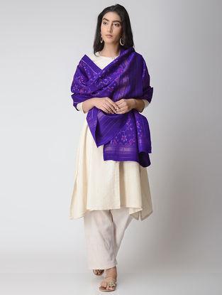 Blue-Purple Ikat Wool Shawl with Zari Border