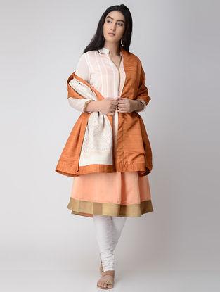 Orange-Ivory Ikat Wool Reversible Shawl with Silk Lining and Zari Border