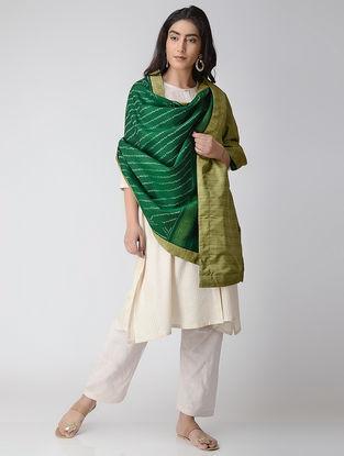 Green-Ivory Ikat Wool Reversible Shawl with Silk Lining and Zari Border