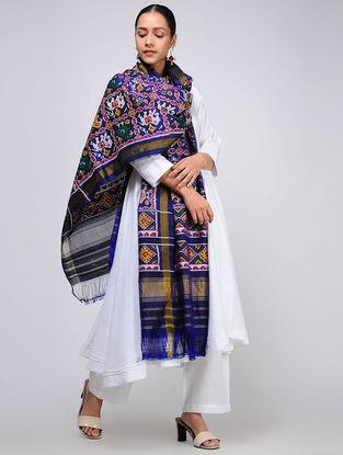Blue-Ivory Single Ikat Silk Dupatta with Zari