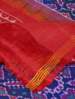 Blue-Red Single Ikat Silk Dupatta